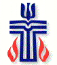 Color Presbyterian Seal With Blue Cross and Red Flames