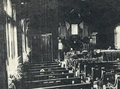 Interior of Morgan Park Presbyterian Church Circa 1913 Black and White. Notice the TWO American flags above the sanctuary
