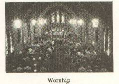 Fuzzy Black and White image of a worship service from the 1950's