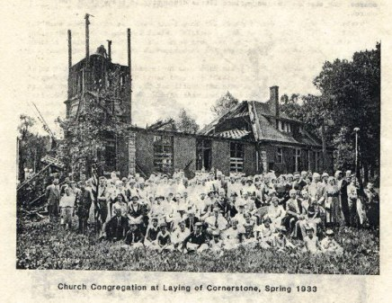 1933 Morgan Park Presbyterian Church Congregation gathered in front of burnt out structure for purpose of laying cornerstone. Black and White photo