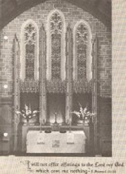 Front of a bulletin depicting the back of the sanctuary circa 1950's