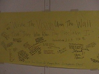 The Vison of the church defined on yellow paper by different people