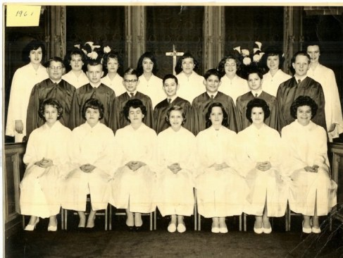 Confirmation class of 1961 at Morgan Park Presbyterian Church