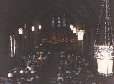 Choir Cantata under the direction of Dr. Dana Brown View from rear balcony... Before the fire as the choir robes are red.